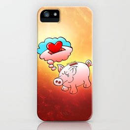 Piggy Bank Daydreaming of Hearts instead of Coins iPhone Case