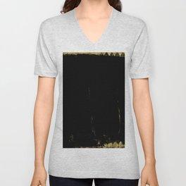 Black and Gold grunge modern abstract background I Unisex V-Neck