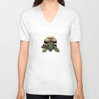 tortoise V-neck T-shirts featuring Happy Tortoise by Ken Coleman
