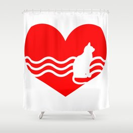 Cute Lovely Cat My Heart Shower Curtain