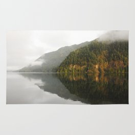 Lake Crescent reflection Rug