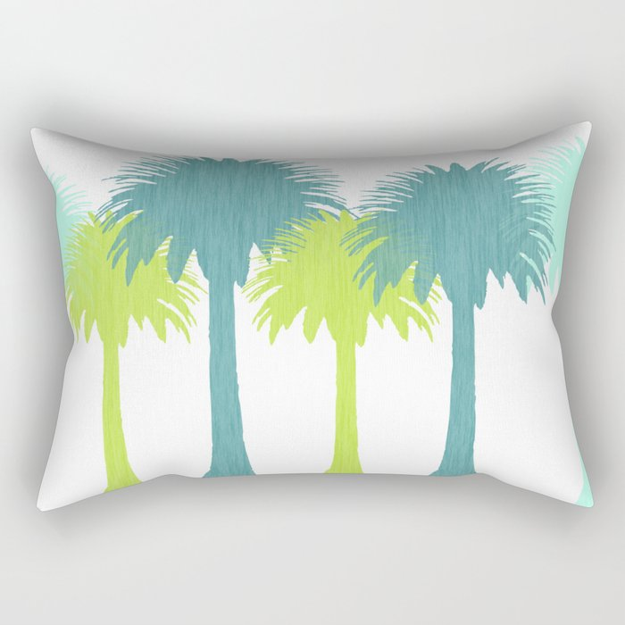 Green Tropical Palms Rectangular Pillow