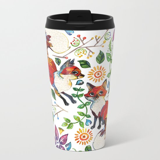 Fox Pattern Metal Travel Mug