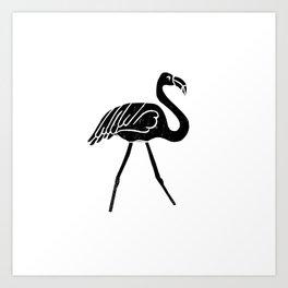 Flamingo bird linocut art black and white minimal carving ink Art Print