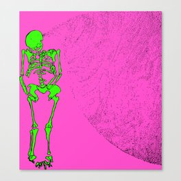 Reborn in the Swarm (Green on Pink) Canvas Print