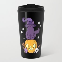 Pumpkin Cat // Black Travel Mug
