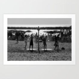 Beach shower Art Print
