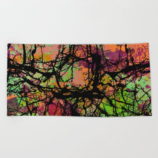 Cracks And Colour - Pastel orange, blue and green abstract with black marble effect Beach Towel