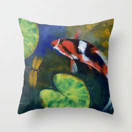 Showa Koi and Dragonfly Throw Pillow