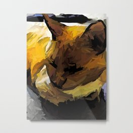 Sleeping Cat of Gold and Brown Metal Print
