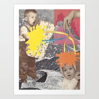 kids Art Prints featuring Kids by collageriittard
