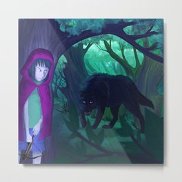 Red and wolf Metal Print