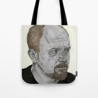 louis ck Tote Bags featuring Louis CK by Andy Christofi