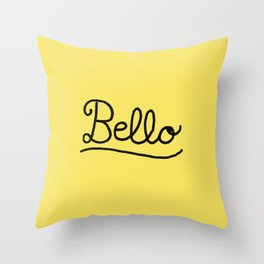 Funny Bello Hello Typography in Yellow and Black Throw Pillow