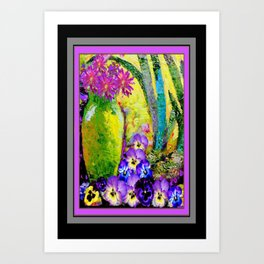 Chartreuse-Violet art Vase Pansies Floral Painting Art Print