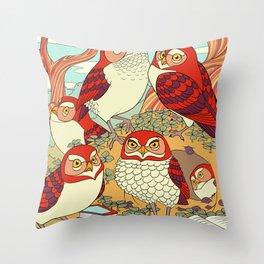 Burrowing Owl Family Throw Pillow