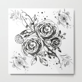 Summer time abstract black flowers. Nature theme. Abstract roses and flower Metal Print
