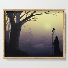 Wanderers : a post-apocalyptic foggy scene. Serving Tray