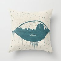 moscow Throw Pillows featuring Frozen Moscow by Paula Belle Flores