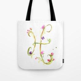 Letter H watercolor - Watercolor Monogram - Watercolor typography - Floral lettering Tote Bag
