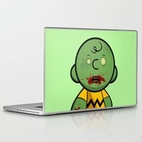 charlie brown Laptop & iPad Skins featuring Zombie Charlie Brown by rkbr