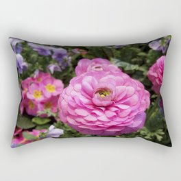 Spring Rosy Ranunculus And Primrose With Violet Violas Rectangular Pillow