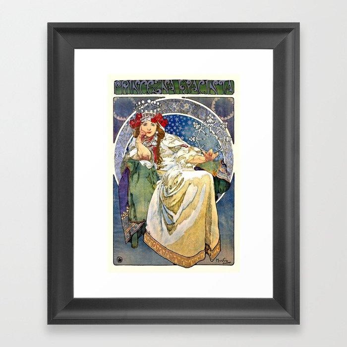 Princess Hyacinth - Princezna Hyacinta, Alphonse Mucha Art Nouveau Poster Gerahmter Kunstdruck