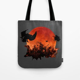 Spooky Halloween Blood Moon Screaming Birds And Spider Tote Bag