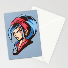 Manga Girl Bue Hair Stationery Cards