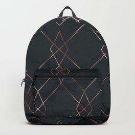 Modern Deco Rose Gold and Marble Geometric Dark Backpack