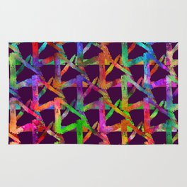 Cool watercolor rainbow brush plaid. Bright print Rug