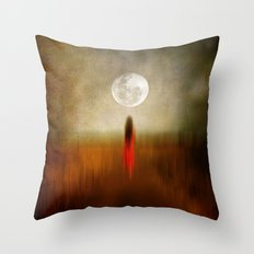 Woman in red. by Viviana Gonzalez Throw Pillow