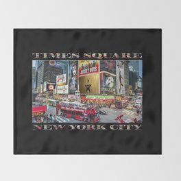 Times Square II (widescreen on black) Throw Blanket