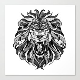 Angry Lion - Drawing Canvas Print