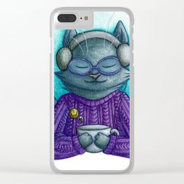 Hot drinks and cool tunes Clear iPhone Case