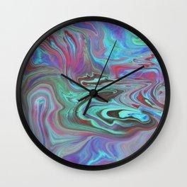 Fluid Nature - Blue Lava - Abstract Acrylic Pour Art Wall Clock