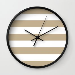 Khaki (HTML/CSS) (Khaki) - solid color - white stripes pattern Wall Clock