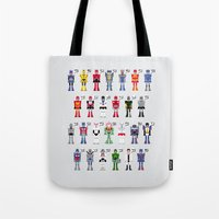 transformers Tote Bags featuring Transformers Alphabet by PixelPower