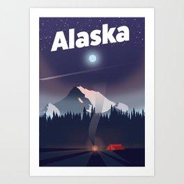 Alaska Camping trip travel poster Art Print