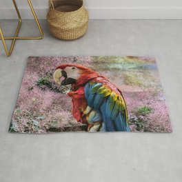 Red macaw parrot ara Rug