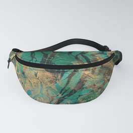 Green and Gold marbled paper Fanny Pack