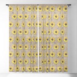 Rustic Faux Burlap Lace Sunflower Image Sheer Curtain