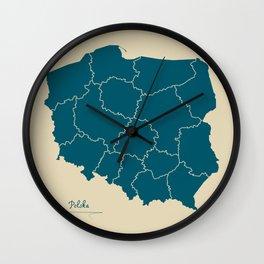 Poland map artwork colour illustration Wall Clock