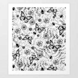 Butterflies And Bees Art Print