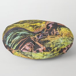 sunset on rocky beach mixed media colorful print Floor Pillow