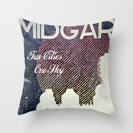Final Fantasy VII - Midgar Tribute Poster *Distressed* Throw Pillow