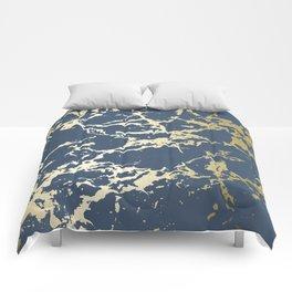 Kintsugi Ceramic Gold on Indigo Blue Comforters