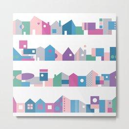 Houses Pattern Metal Print