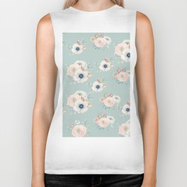 Dog Rose Pattern Mint Biker Tank