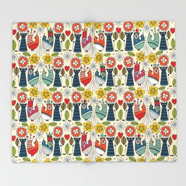 Swedish folksy cats and birds Throw Blanket